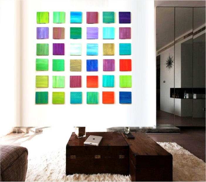 Image of Original Abstract Wood Wall Sculpture | Colorful Art | Wood Wall Art | Custom Modern Art