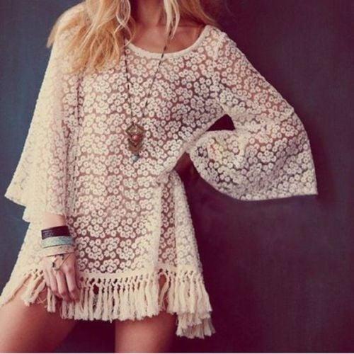 Image of Crochet/lace cream mini dress