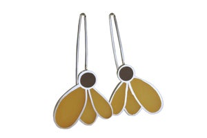 Image of Coneflower Earrings - brown and gold