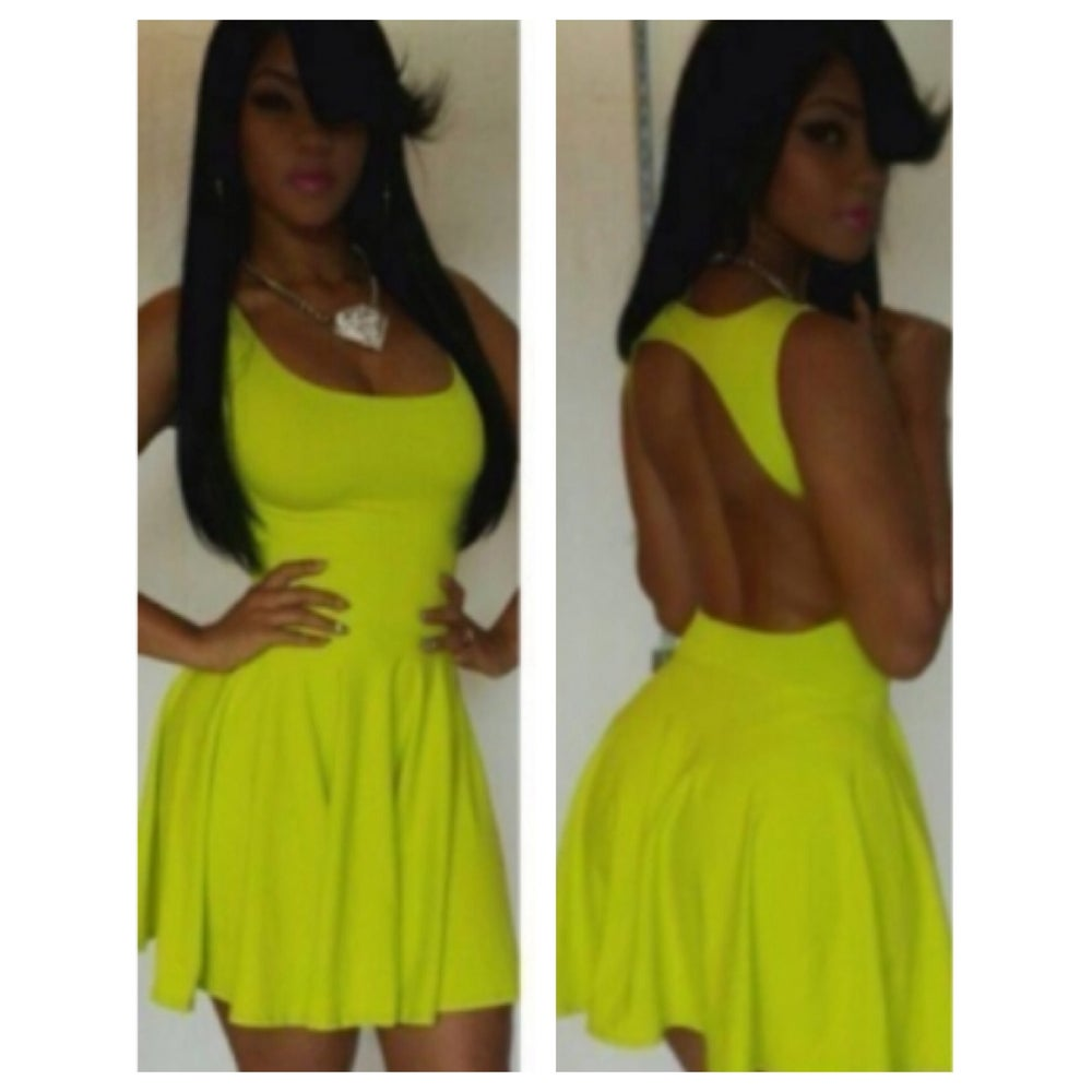 cbcda95aef49 Image of Sleeveless Neon Green Skater Dress