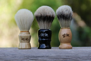 Image of Personalized Men's Wood Shaving Brush - Faux Silvertip Badger