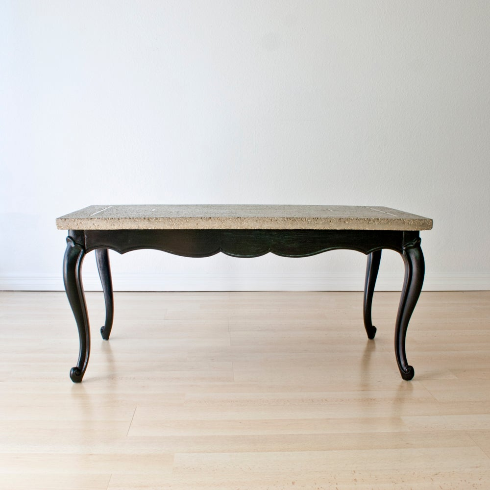 Image Of Concrete + Brass Coffee Table W/ Cabriole Legs ...