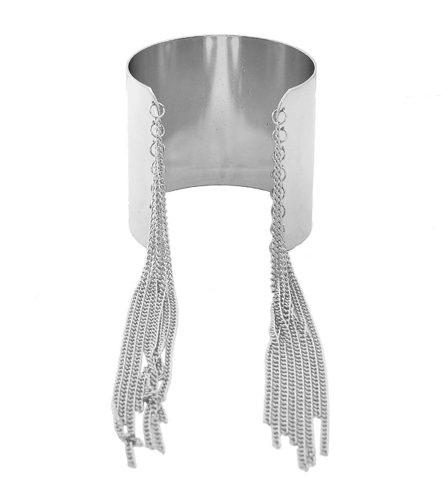Image of Cuff Bracelet with Tassel Chains
