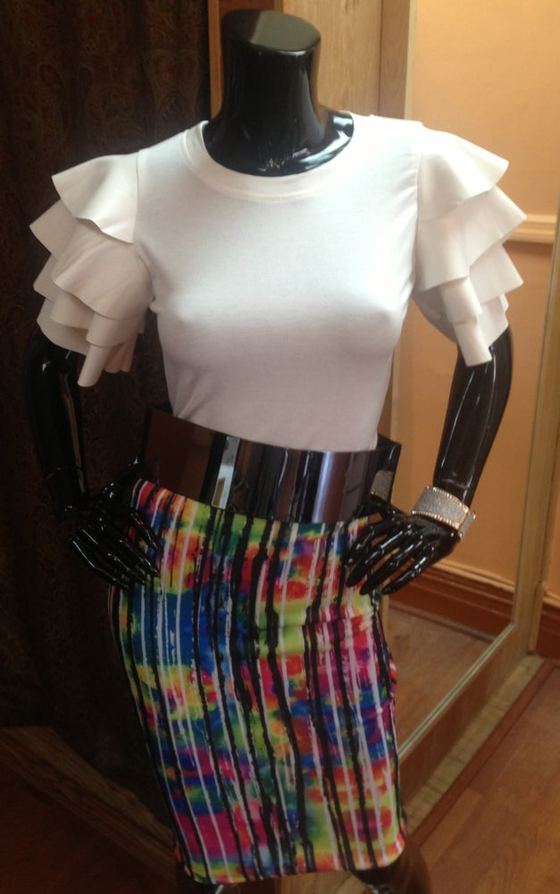 Image of White Leather Ruffle Sleeve Top