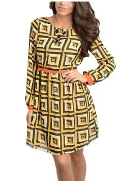 Image of Yellow Black Orange Dress