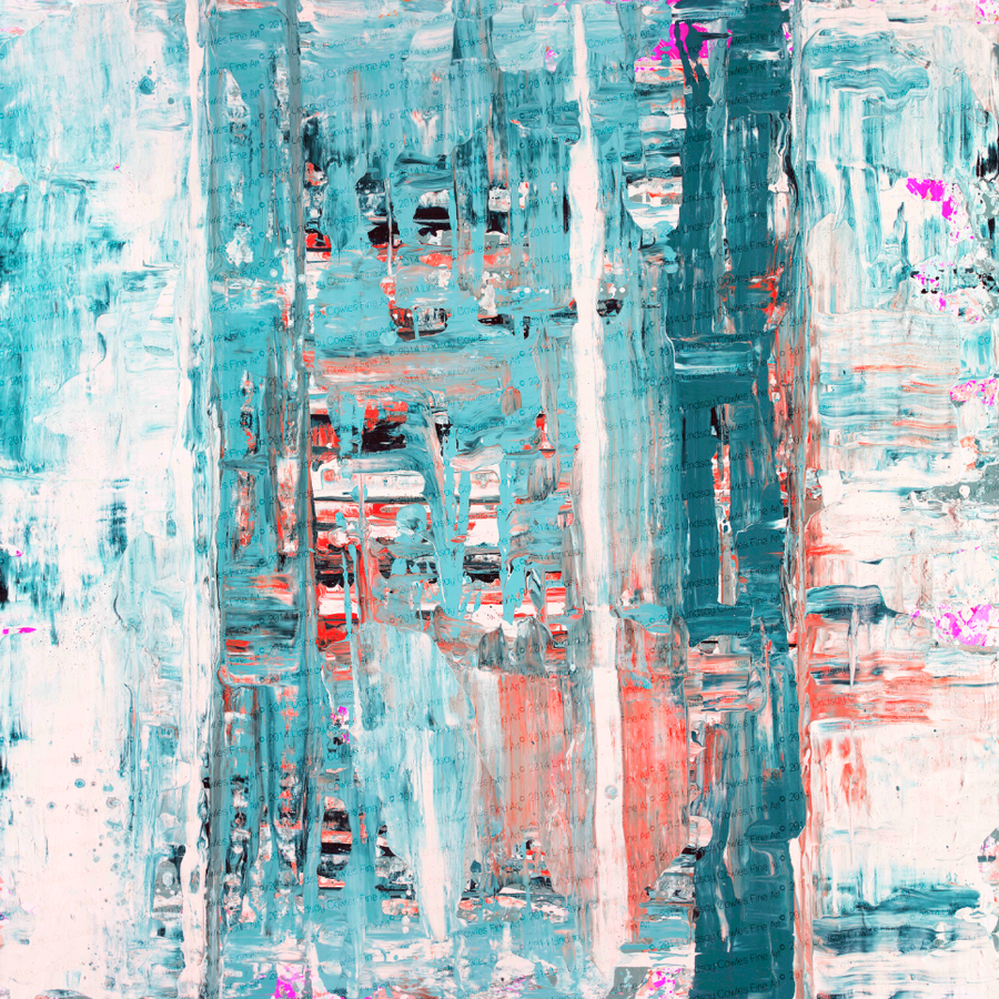 Image of 81 print on stretched canvas- teal coral