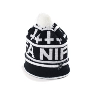 Image of CROSS POMPOM BEANIE - BLACK/WHITE