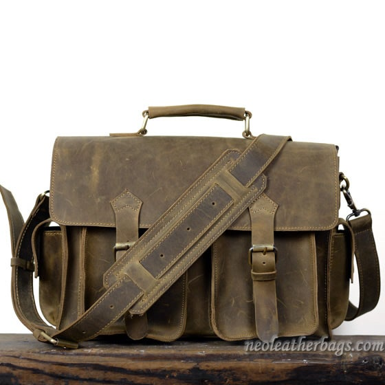 "Image of Vintage Handmade Crazy Horse Leather Briefcase / Messenger / 13"" Laptop or 13"" MacBook Bag (n23-2)"