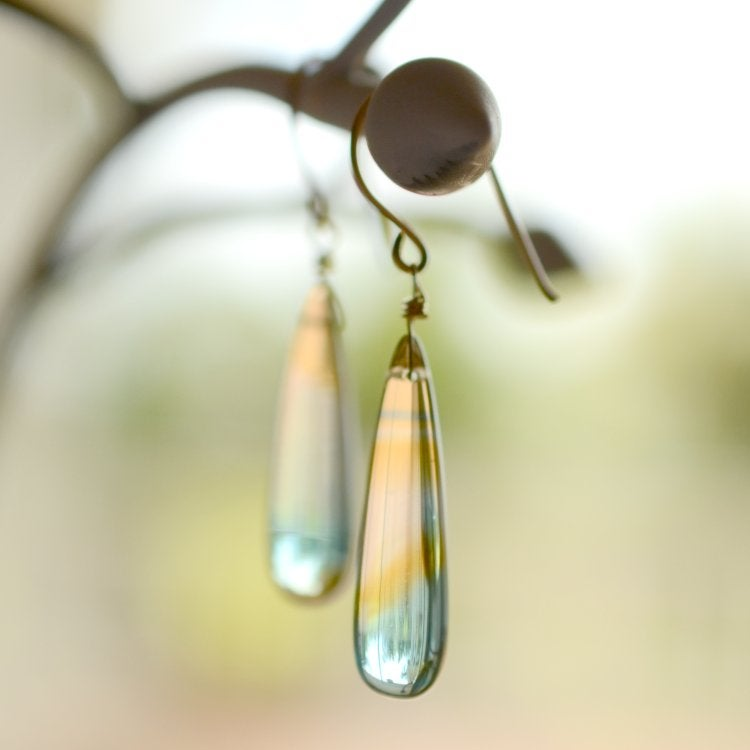 Image of Multi-colored glass earrings Muted