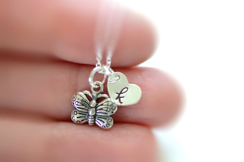 Image of Tiny Butterfly Necklace, Initial Charm Necklace