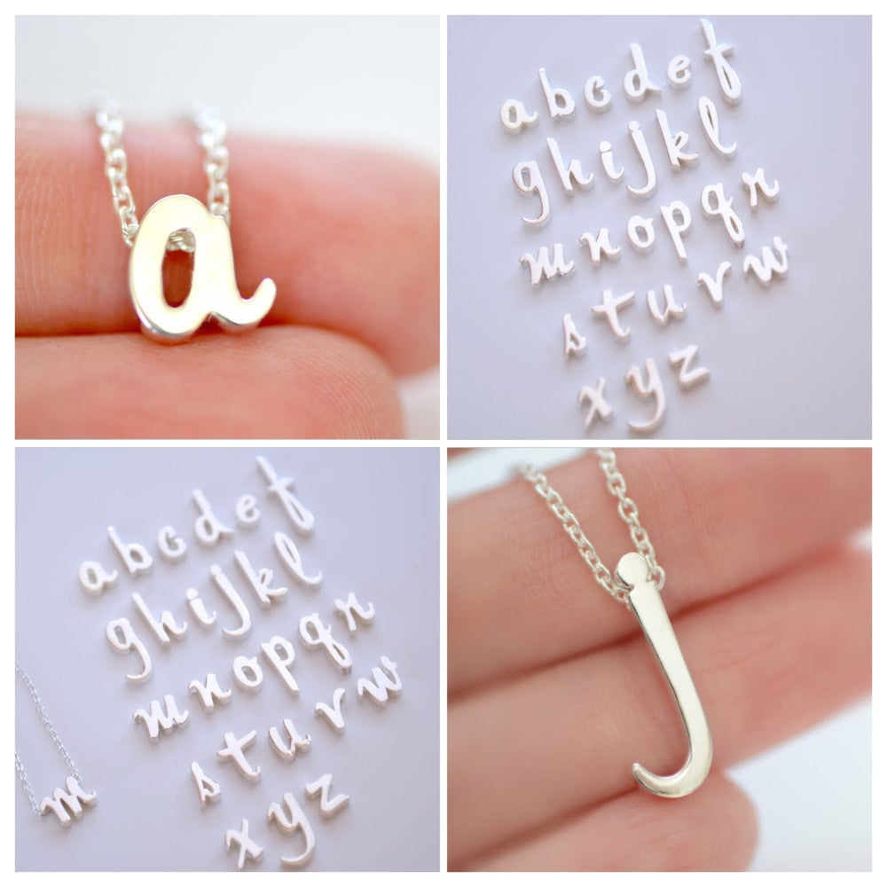 Image of Sterling Silver Script Initial Necklace - Alphabet Initial Necklace