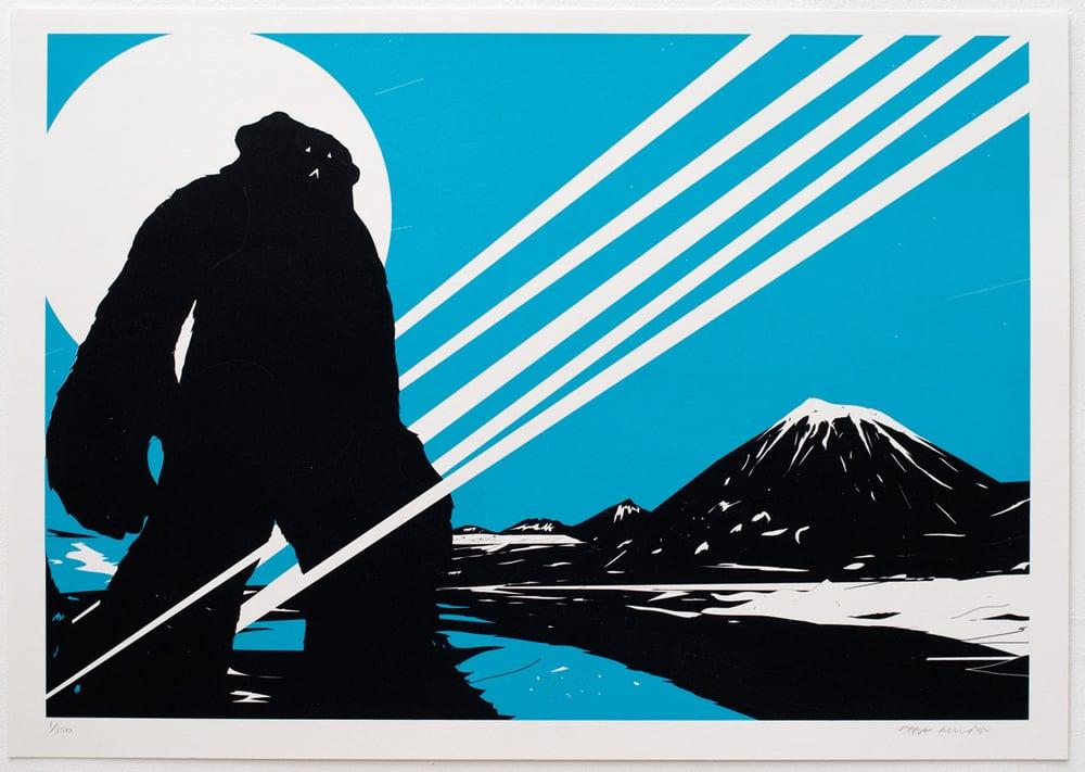 Image of 'Yeti Over Mount Fuji II (Shooting Star)' Screenprint