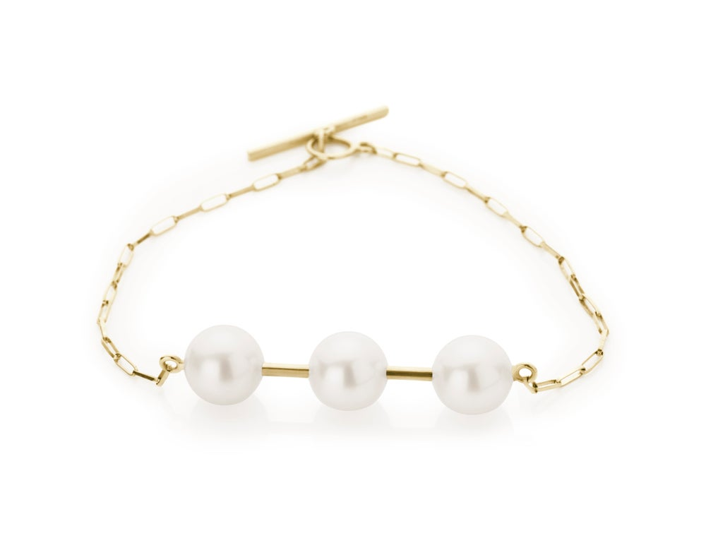 Image of Bracelet w 3 Pearls 18 carat gold