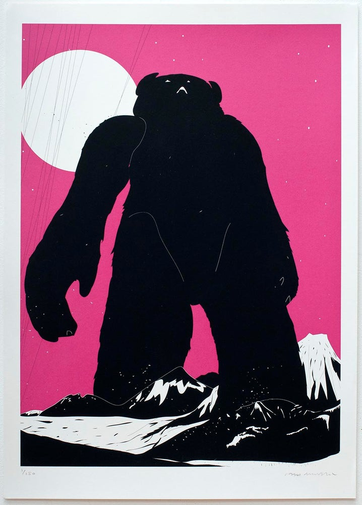 Image of 'Yeti Over Mount Fuji (Magenta)' Screenprint