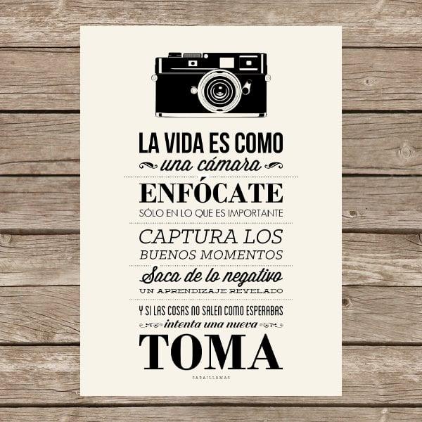 """Image of Lámina """"La vida es como una cámara..."""""""