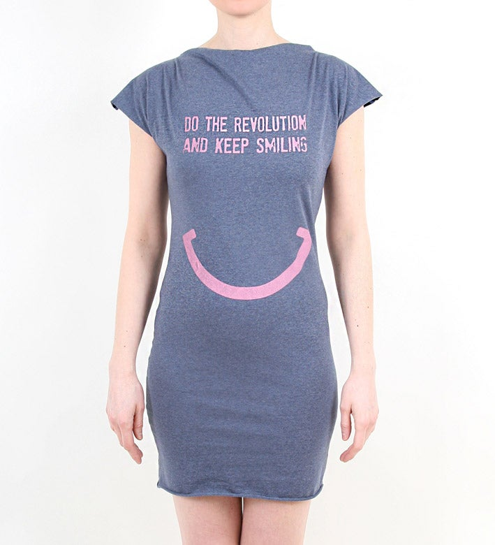 Image of DO THE REVOLUTION AND KEEP SMILING - Kleid - blau meliert