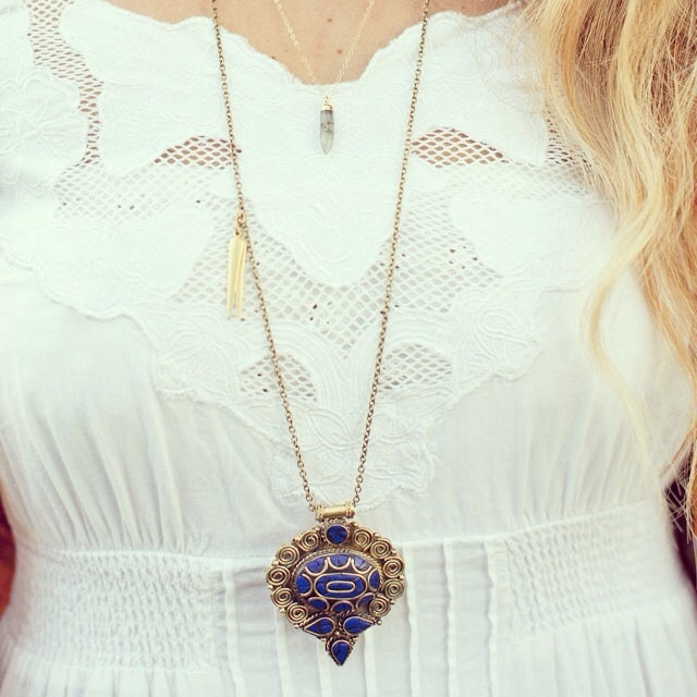 Image of Tibetan mosaic medallion necklace//