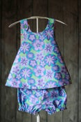 Image of Baby Girl's Pinafore Top and Bloomers Set, 18 to 24 mos, Purple, Green and Blue Floral