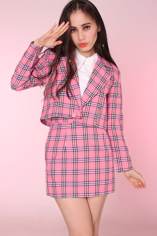 b4e90dec0 Image of Cher Blazer and Skirt Set in Pink Tartan