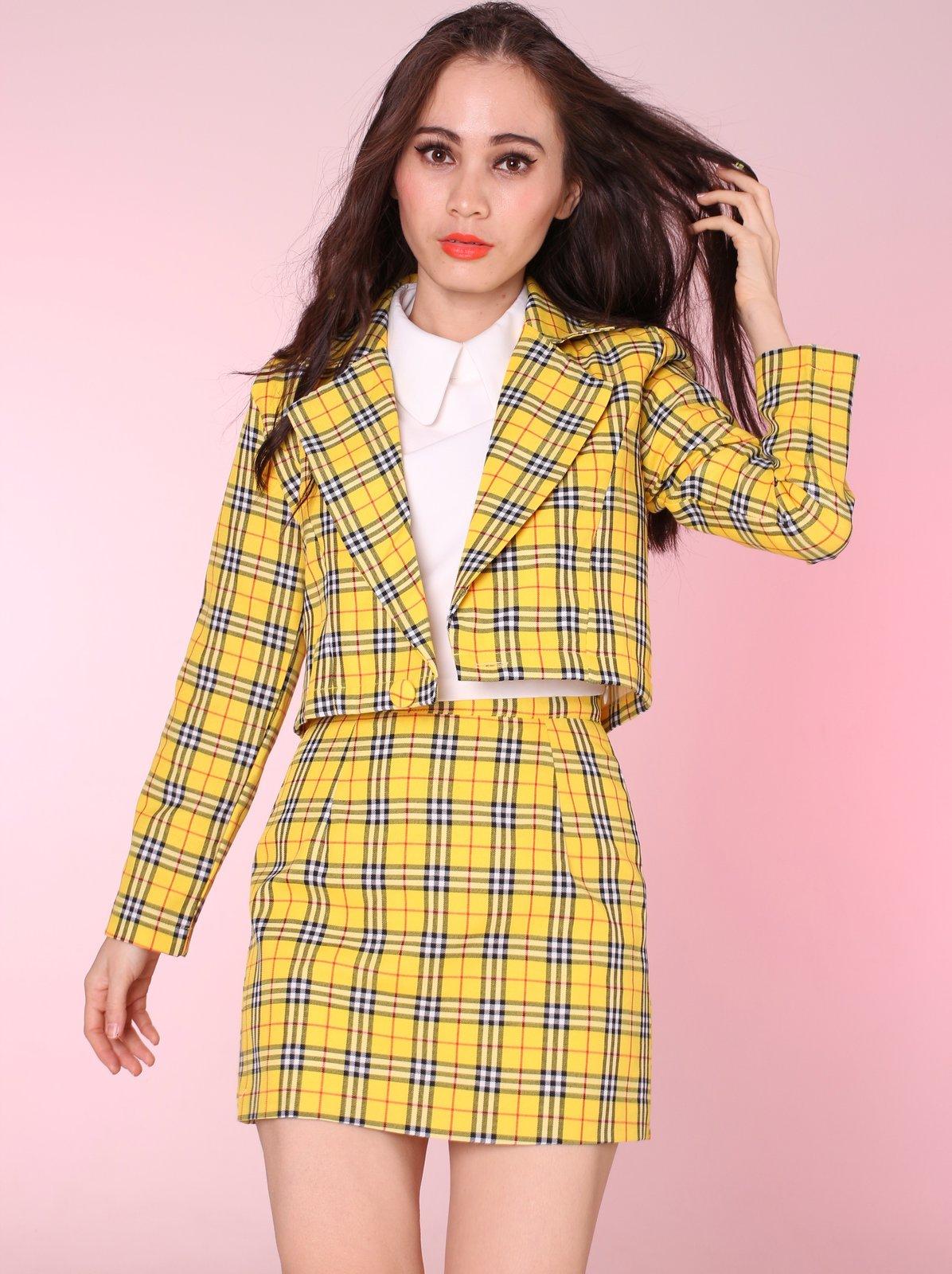 Ready To Post - Cher Yellow Tartan Blazer & Skirt Set ...