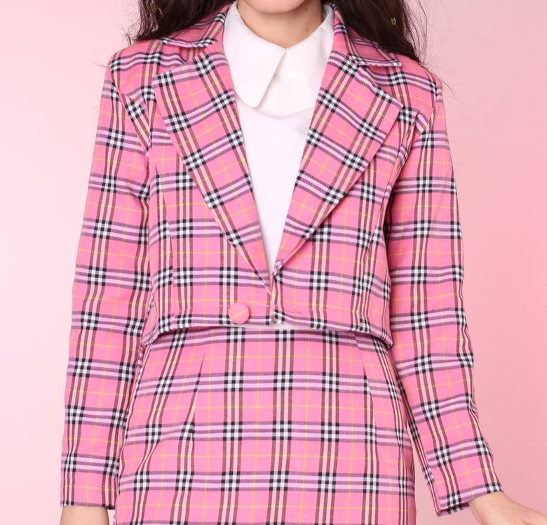 Image of Made To Order - Cher Pink Tartan Blazer