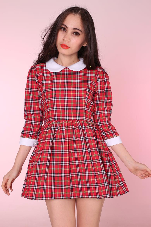 Image of Red Tartan Caroline Baby Doll dress