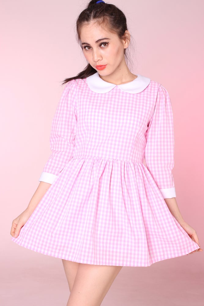 f6d586b1a7ba Made To Order - Caroline Baby Doll Dress in Pink Gingham