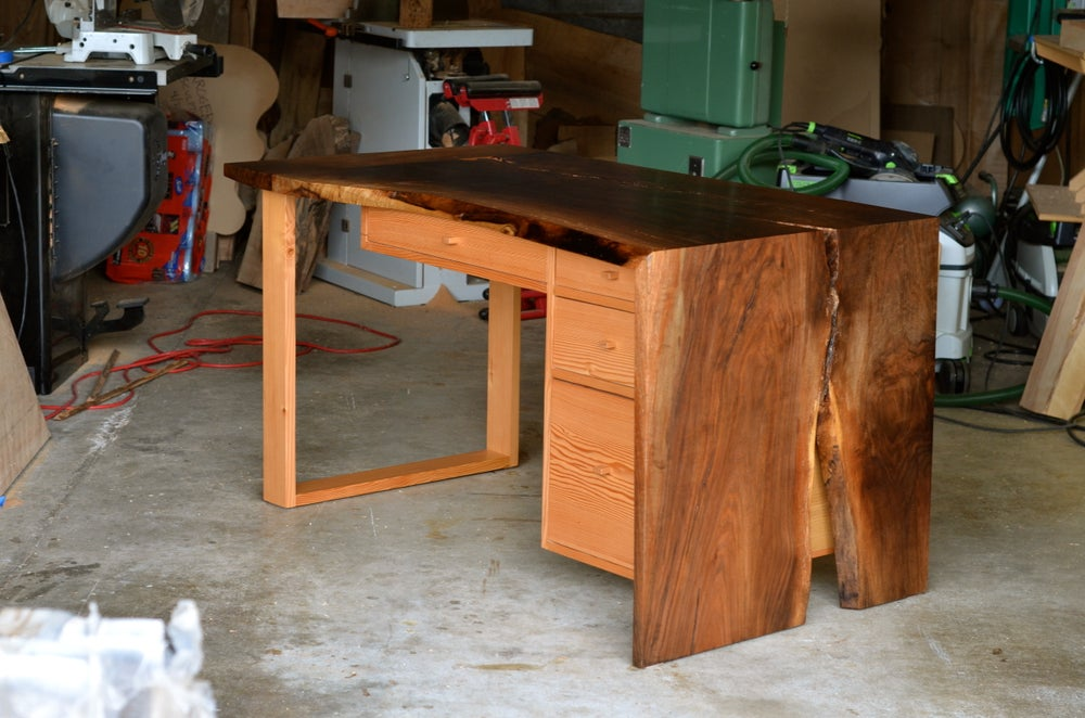 Image of walnut waterfall desk
