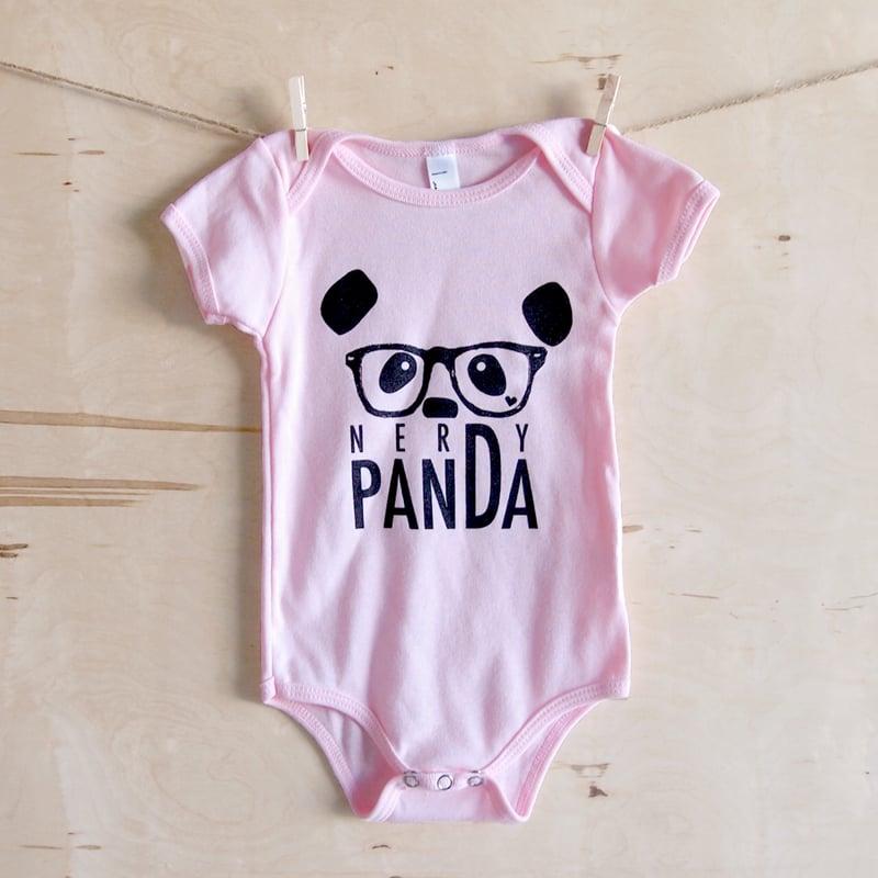 "Image of ""NerDy Panda"" Baby Onesie (Pink)"
