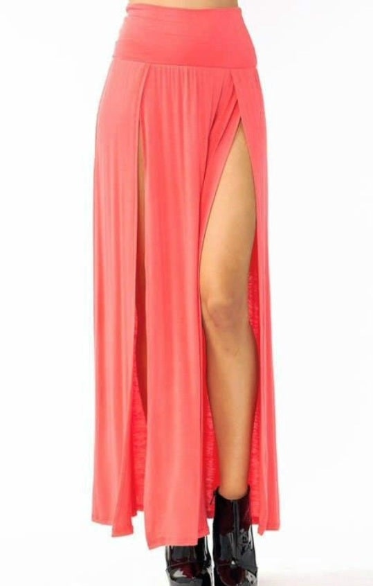 Image of Double Slit Maxi Skirt