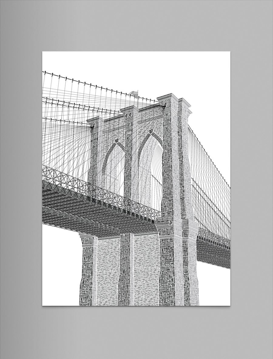 "Image of Brooklyn Bridge 9""x12"" Letterpress Print"