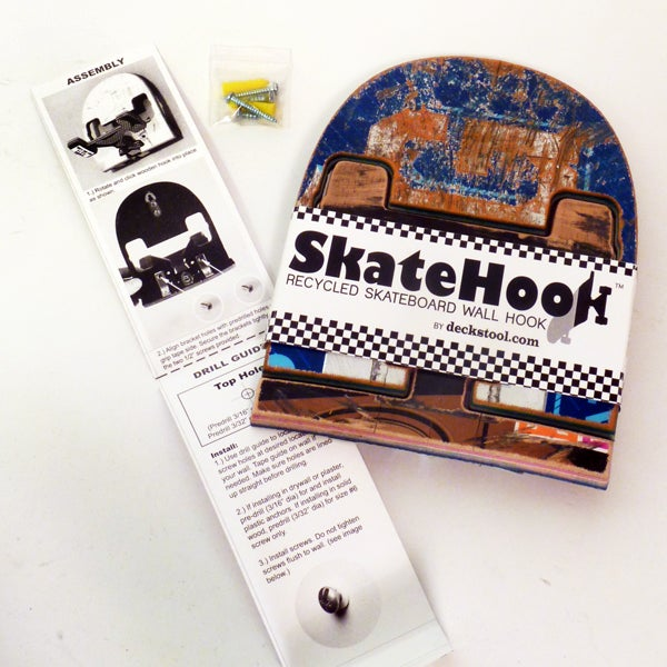 Image of SkateHook - Recycled Skateboard Wall Hook - Single - Free USA Shipping.