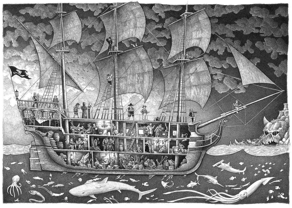 """Image of Pirate Ship #1 19"""" x 27"""""""