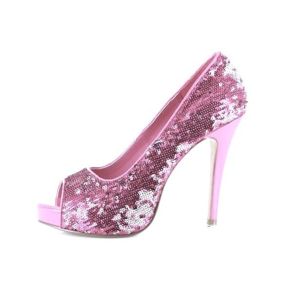 Sequin Baby Pink Peep Toe High Heels
