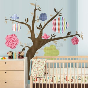 Image of Fancy Pattern Flower Tree Wall Sticker