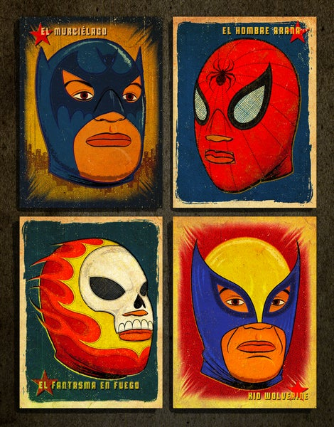 Image of SUPER LIBRE, 4 art print set.