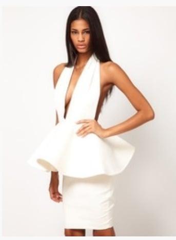 Image of Peplum Backless Bandage Dress
