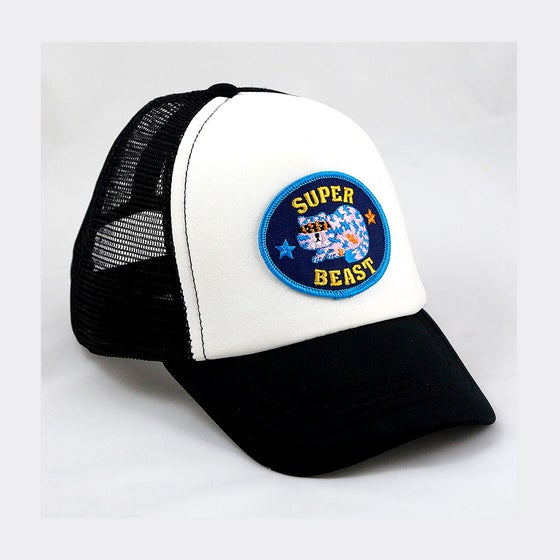 Image of Superbeast patch on black, red, blue or yellow toddler trucker Free UK P&P