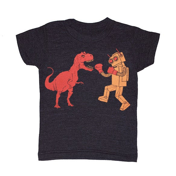 d87b2377c GNOME ENTERPRISES | Handprinted T-shirts for Men + Women + Kids + Infants —  KIDS - Dinosaur vs Robot