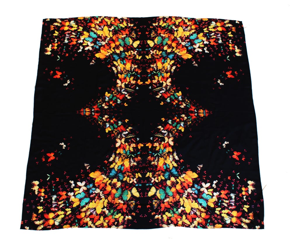 Image of Limited Edition Lily Greenwood 100% Silk Scarf - Butterflies on Black