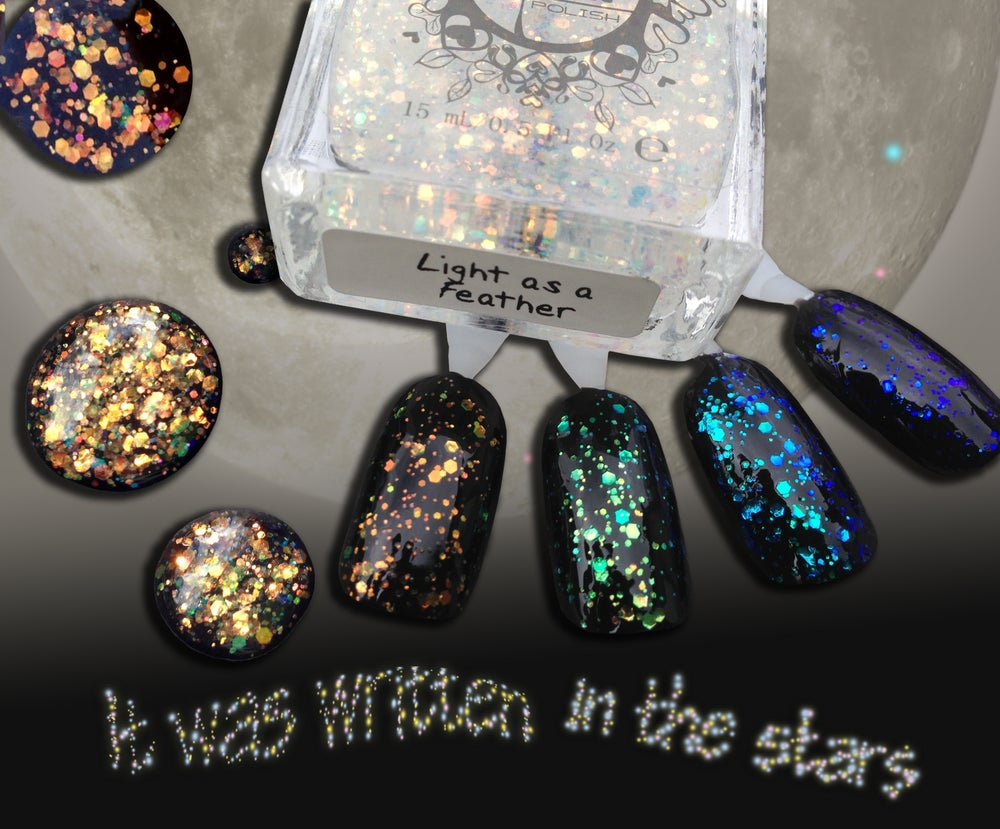 Image of ~Light as a Feather~ opalescent orange glitter nail polish topcoat!