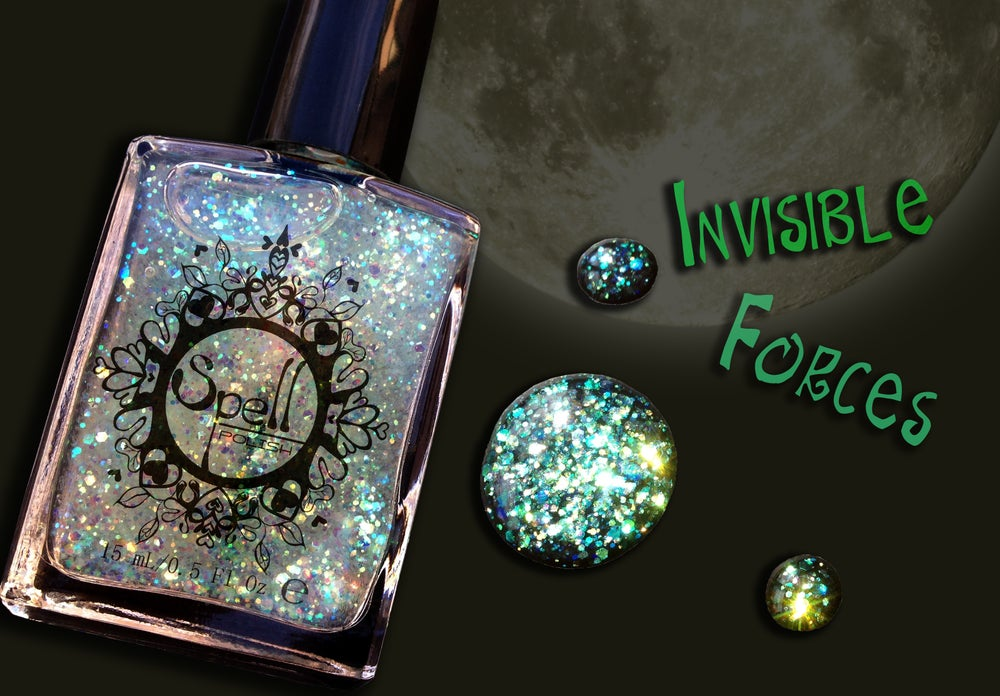 Image of SPELL POLISH ~Invisible Forces~ opalescent green glitter nail polish!