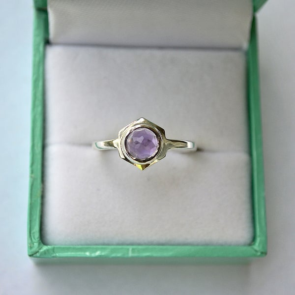 Image of Single Hex Ring - Purple Amethyst
