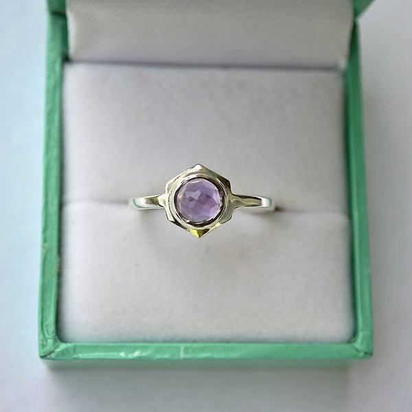 Image of Single Hex Ring - Purple Amethyst
