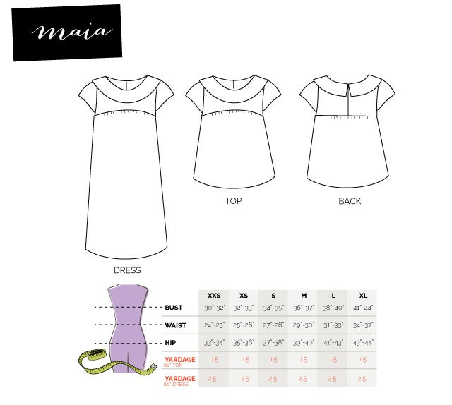 Image of the MAIA blouse + dress pattern