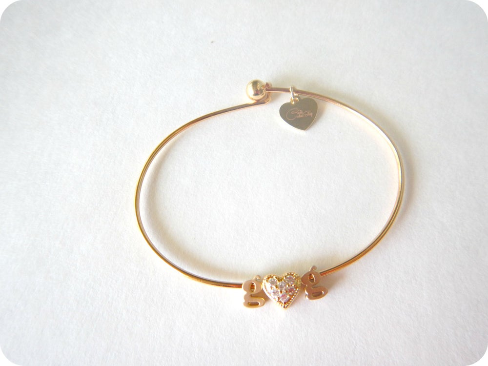Image of Pave heart Inital Bangle or Necklace Silver or Gold