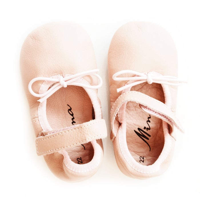 Image of Mini Cassie Pale Pink Baby Ballerina Shoes