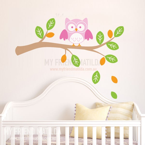 Owl On A Branch Wall Decal Sticker Nursery Kids Room