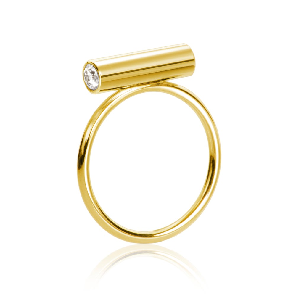 Image of Pin Ring 18 carat gold w brilliants Medium