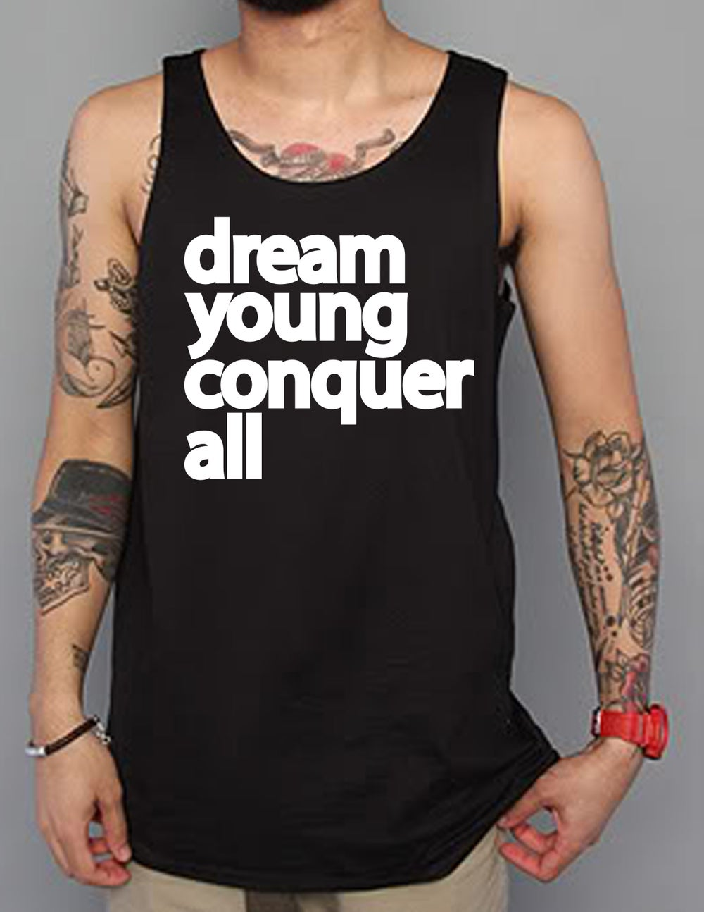"Image of ""DREAM YOUNG CONQUER ALL"" BLACK/TANK TOP"